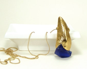 Blue Glass and Gold Leaf Pendant - Temperate / Sea Glass, Gold Leaf, Necklace