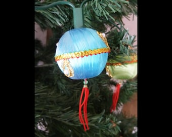 Vintage Christmas Tree Light String Multi Colored Ornaments Baubles Chinese Lanterns