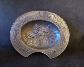 Antique French Pewter Barber Bowl .Barbershop Display or Fruit bowl centerpiece