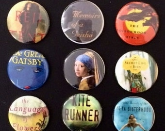 Set of 6 Literary Book Magnets or Pins
