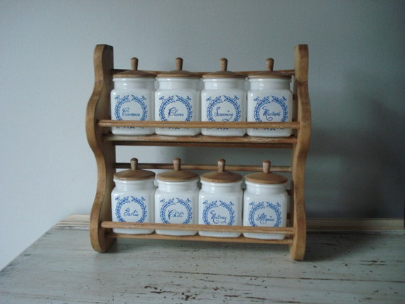 Vintage Spice Rack With Jars Cottage Style Spice Rack Blue And