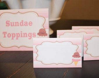 ICE CREAM SHOPPE Theme Birthday or Baby Shower Buffet Cards Table Tents Food Labels {Set of 8}