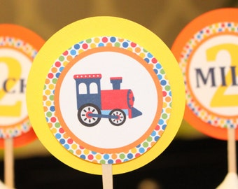 CHOO CHOO TRAIN Birthday or Baby Shower Party Cupcake Toppers Picks set of 12 {One Dozen} - Party Packs Available