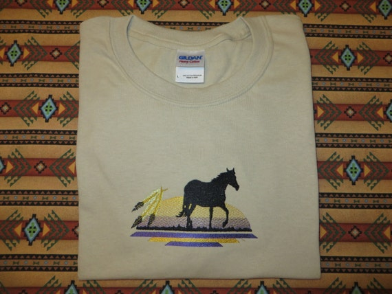 Embroidered horse native american feathers t shirt