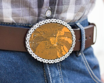 Men's Belt buckle - Bike chain - Big Geeky Belt buckle - yellow / olive green Circuit board - unk - plus leather belt