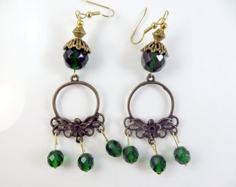 Clearance - Green flower earrings