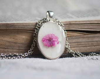 pressed flower handmade pink daisy jewelry collection pendants bridal wedding woodland