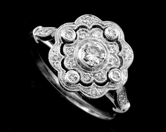 Edwardian Flower Halo Diamond Engagement Ring, Pave Bezel Set Diamond Proposal Ring,Art Deco Style Filigree Ring, 18K White Gold Floral Ring
