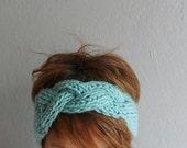 Knit Headband, Oversized Headband, Chunky Headband, Ear Warmer, Mint Green, Winter Accessories,Holiday Fashion