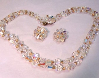 Vintage Crystal AB and Gold Decorated Bead Necklace and Earrings Set LOOK!