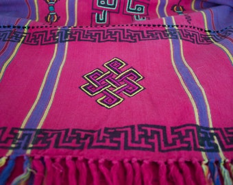 Vintage Large Tapestry Table Runner From Nepal Cotton