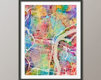 Philadelphia Map, Pennsylvania, Art Print (1338)