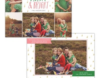 Merry & Bright - Christmas Card Photoshop template - INSTANT DOWNLOAD - e1135