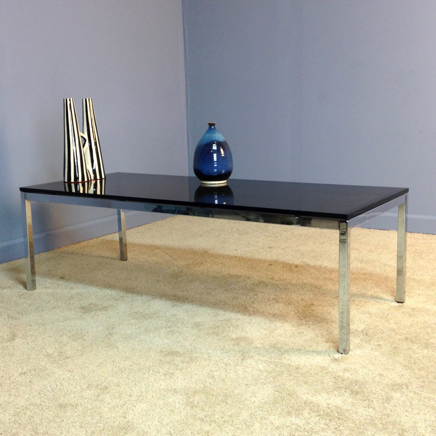 Steelcase Chrome Glass Coffee Table Vintage Mid Century
