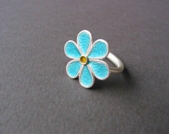 enamel flower ring 925 silver 900 gold