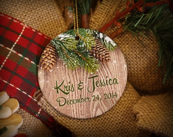 Rustic Snowy Pine Personalized Christmas Ornament!