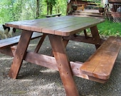 Picnic Table with Folding Benches - Stained
