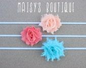 75% Off Set of 3- Petite Peach, Coral and Aqua Shabby Flower Headband Set/ Newborn/ Baby/ Flower Girl/ Wedding/ Photo Prop