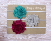 Set of 3- Teal, Grey and Burgundy Shabby Flower Headband Set/ Headband/ Newborn Headband/ Baby Headband/ Wedding/ Photo Prop