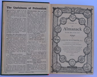 Joseph Whitaker Almanack 1941 WWII Book The War Against the Nazis and Public Hangings Vintage Book Antique Book Vintage Encyclopedia
