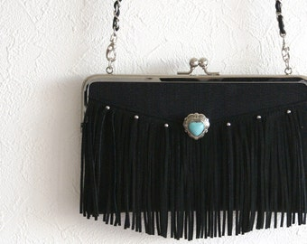 Fringe Purse with Turquoise Stone / pochette for any iPhone, smartphone and more / crossbody bag