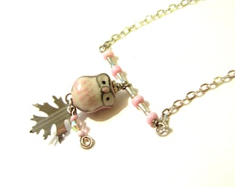Cute Owl Necklace Silver and Pink OOAK Handmade