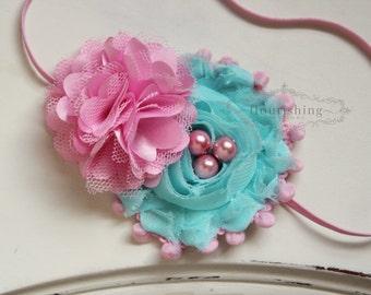 Pink and Aqua Chiffon headband, pink flower headbands, aqua headbands, baby headbands, newborn headbands, photography prop