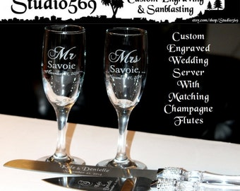 Personalized Wedding Party Cake Knife Server Set Faux Crystal Handle Rhinestone Accents with Matching Engraved Champagne Flutes