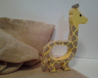 Handmade Wood Giraffe Coin Bank