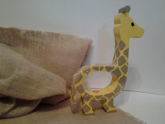 Handmade wood giraffe coin bank for Handmade coin bank