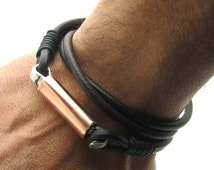 FREE SHIPPING. Mens leather bracelet.Hand made dark brown leather bracelet.Copper brcelet.