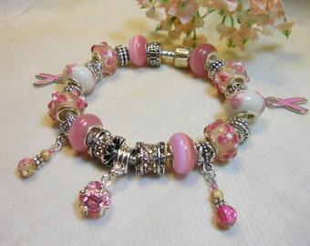 Breast Cancer Awareness Bracelet, Pink European Style Bracelet, Pink Ribbon, Soft Pink Bracelet