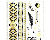 SALE ITEM!! Metallic Glorious Gold Temporary Tattoo A5 Set