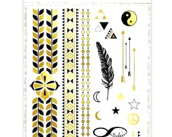 Metallic Gold Temporary Tattoo A5 Set: Glorious Flash Gold Temporary Tattoos *SALE ITEM!!*