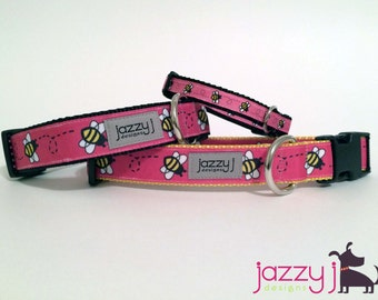 Pink Busy Bumble Bee Dog Collar