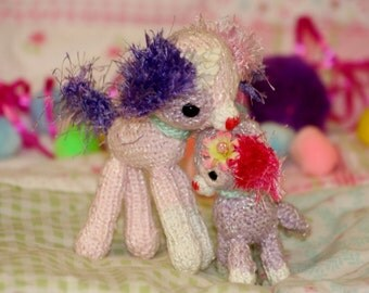 Knit Mommy Dog and Baby Puppy Dolls