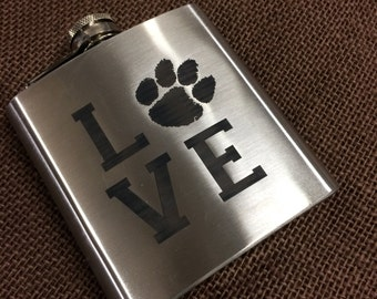Clemson LOVE  Stainless Steel Flask