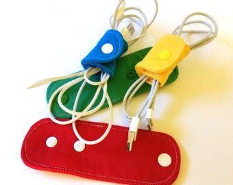 Set of 4 Adjustable Electronic Cord Wrappers, Cord Wraps,Cord Organizer, Cord Keeper, Headphone Wrap - Red Yellow Green Aqua Custom Made