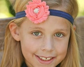 Navy and Coral Headband -  Rhinestone Center - Newborn Infant Baby Toddler Girls Adult Wedding