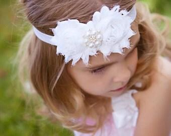 White Headband Pearl Rhinestone -  Flower Girl - Newborn Infant Baby Toddler Girls Adult Wedding