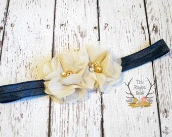 Latte & Navy Blue Petite Headband -  Flower Girl - Newborn Infant Baby Toddler Girls Adult Wedding Tan