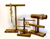 Wood Jewelry Display SET, Wood Necklace Display, Earring Display, Earring Tree, Bracelet Display, Choose the Stain