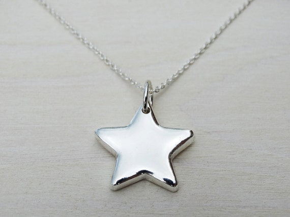 Solid Silver Star Necklace - Sterling Silver