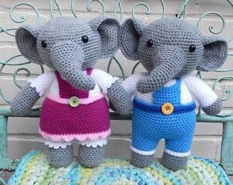 Eleanor and Elijah Elephant, Amigurumi Crochet Pattern