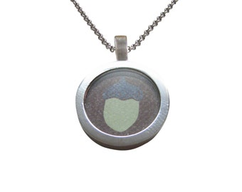 Pale Green Acorn Pendant Necklace