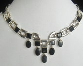 SALE Heavy Taxco 950 Silver & Onyx Vtg Necklace Marked TR-190, Mexico, 950 under Clasp Cover.  Weighs 141.9 grams or 5.005 oz.