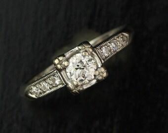 Art Deco 10k White Gold .47 carat Diamond Engagement Ring with Diamond Shoulders