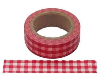 "W8122  11yards (10M) Red Gingham 5/8""(15mm) Washi Tape Paper Masking Tape"