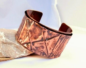 copper cuff fold formed boho rustic