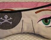 Embroidered Eye Mask, Sleep Mask, Sleeping, Kid Mask, Adult Mask, Cute Mask, Sleep, Slumber Mask, Girl Pirate Design, Custom, Eye Shade